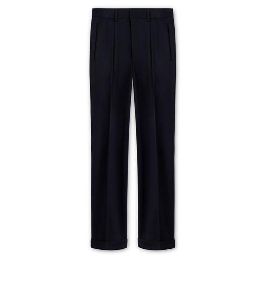 WOOL GABARDINE SHELTON PLEATED TROUSERS