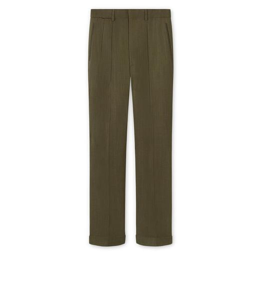 BROWN VISCOSE PANAMA STRETCH SHELTON PLEATED TROUSER