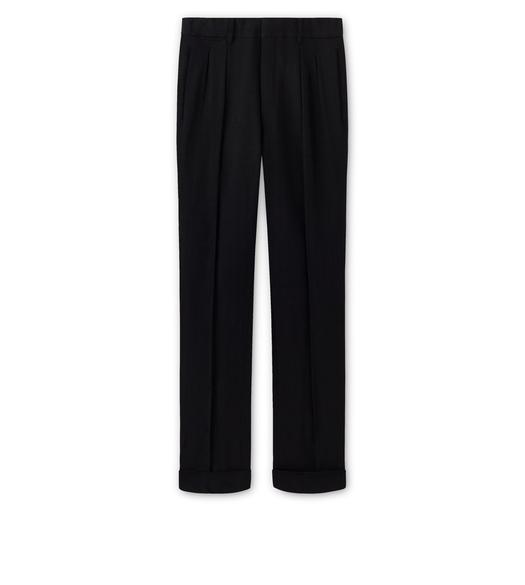 BLACK VISCOSE PANAMA STRETCH SHELTON PLEATED TROUSERS