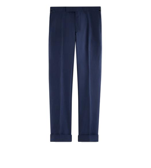BLUE SILK LINEN SHELTON TROUSERS