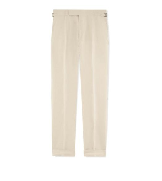 BEIGE SILK LINEN SHELTON TROUSERS