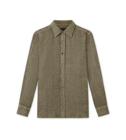 PURE LINEN CANVAS POINT COLLAR DAY SHIRT