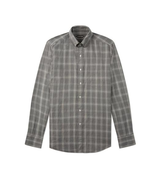 GREY BRUSHED TONAL CHECK LEISURE SHIRT