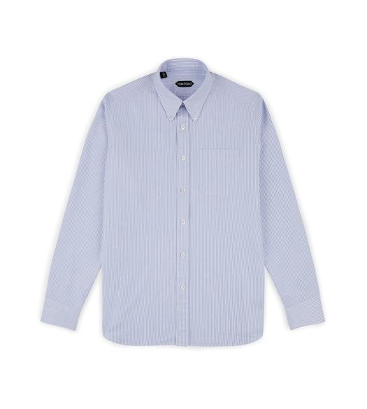 BLUE WASHED STRIPE OXFORD SHIRT