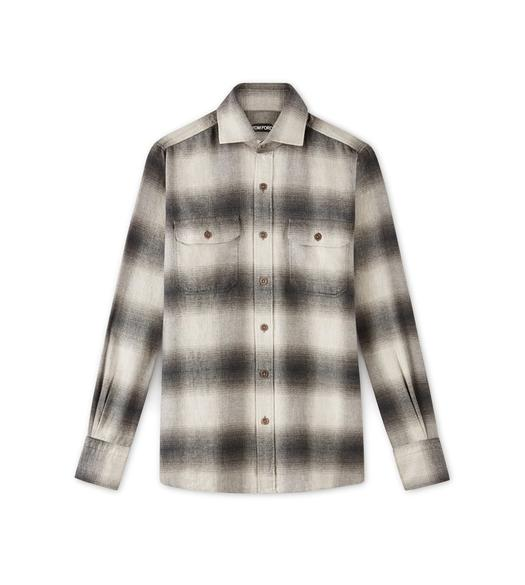 DARK CHECK TWO POCKET FLANNEL SHIRT
