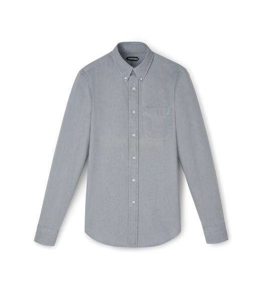 JAPANESE GREY FINE DENIM POINT COLLAR BUTTON DOWN SHIRT