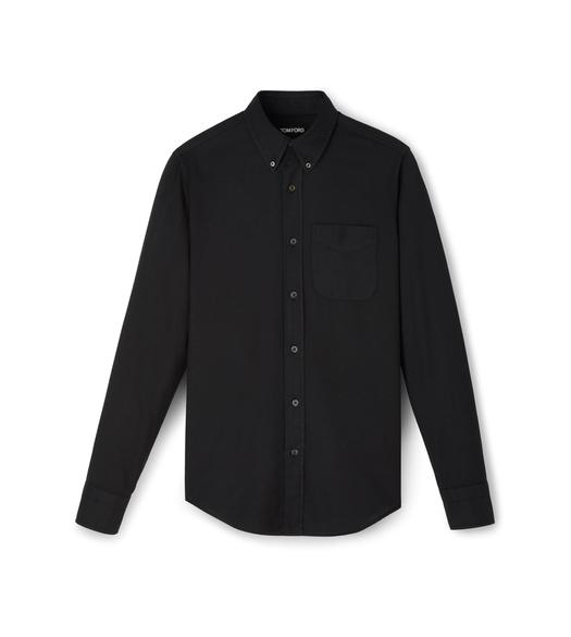 COTTON CASHMERE WASHED TWILL POINT COLLAR BUTTON DOWN SHIRT