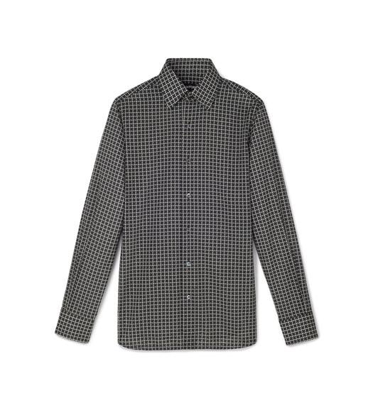 BLACK STYLISED DOGTOOTH SMALL COLLAR PRINTED SHIRT