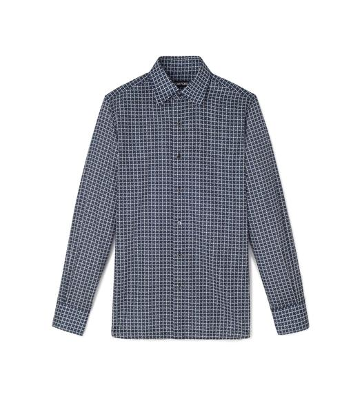 BLUE STYLISED DOGTOOTH SMALL COLLAR PRINTED SHIRT