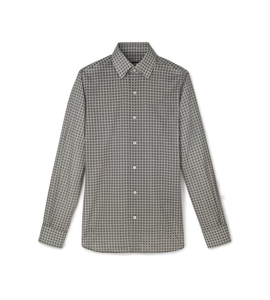 GREY STYLISED DOGTOOTH PRINT SMALL CLASSIC COLLAR PRINTED SHIRT