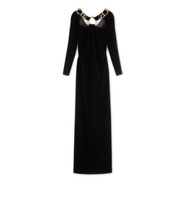 SILK VELVET COWL BACK GOWN WITH CHAIN
