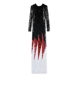 CREW NECK LONG SLEEVE EMBROIDERED GOWN
