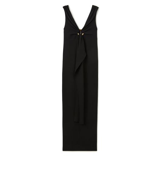 V-NECK SLEEVELESS GOWN WITH JEWELRY DETAIL