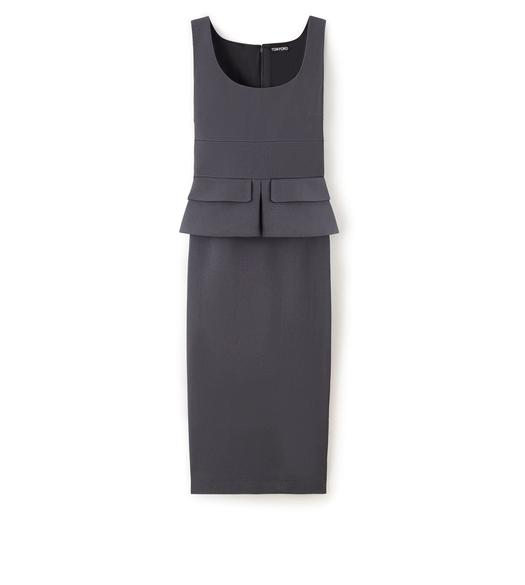 KNEE LENGTH SLEEVELESS DRESS WITH PEPLUM