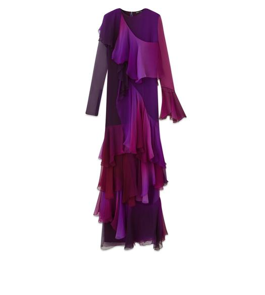 LAYERED RUFFLED SILK LONG SLEEVE GOWN