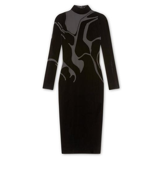 VISCOSE VELVET MOCK NECK DRESS WITH SHEER VOILE INSERTS