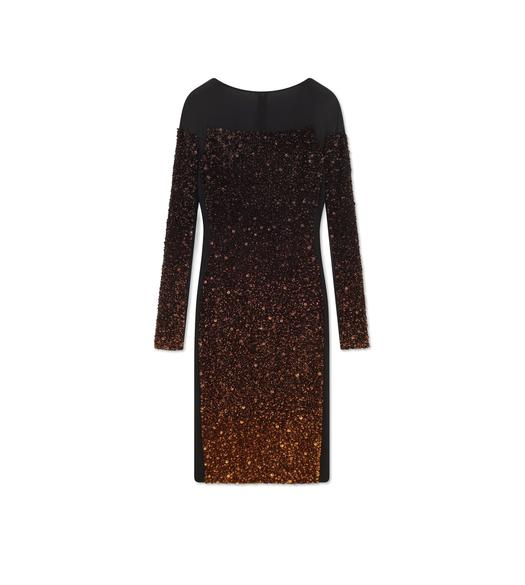LONG SLEEVE MIXED SEQUIN COCKTAIL DRESS