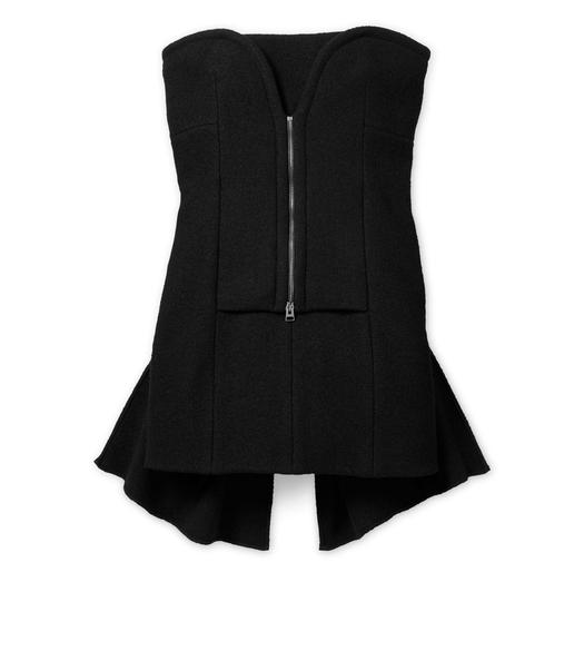 BUSTIER TIE-BACK WOOL DRESS