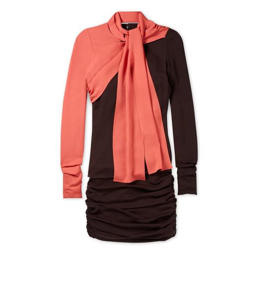SCARF NECK DOUBLE GEORGETTE DRESS