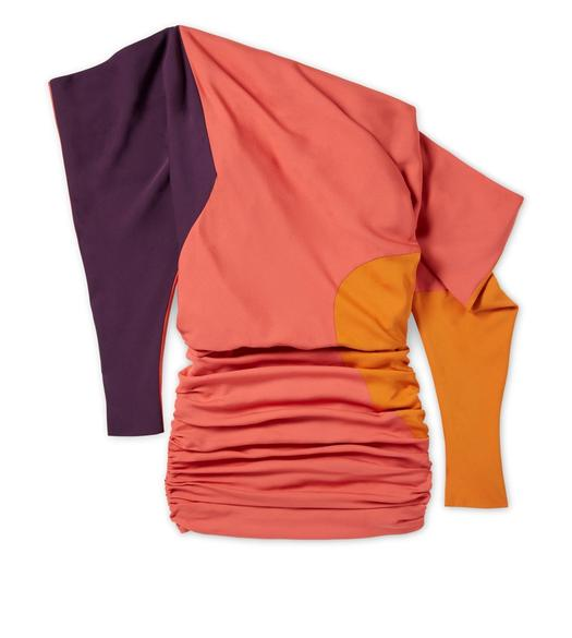 OFF-SHOULDER COLOR BLOCK DOUBLE GEORGETTE DRESS