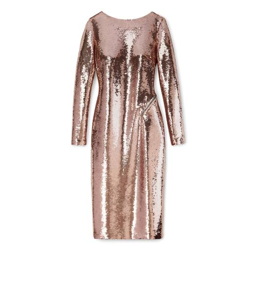 KNEE LENGTH ZIPPED OPEN BACK SEQUIN DRESS