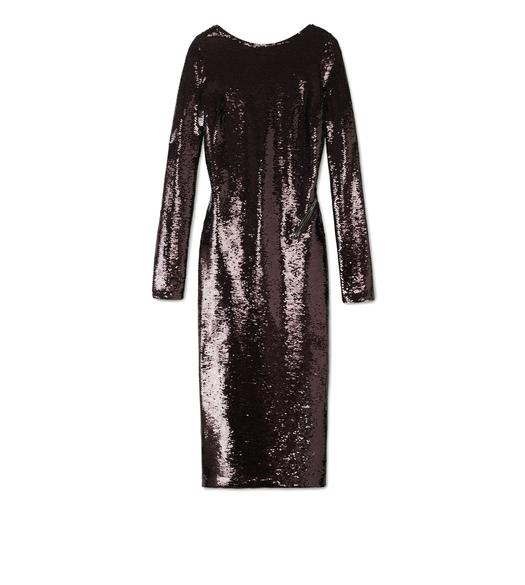 OPEN BACK ZIP LIQUID SEQUIN DRESS