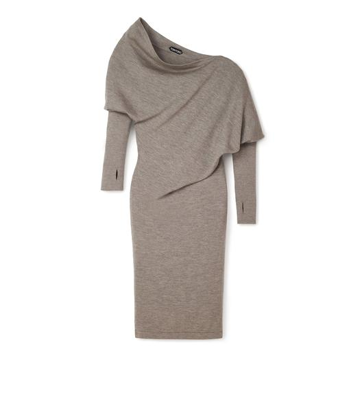 CASHMERE SILK OFF-SHOULDER DRESS