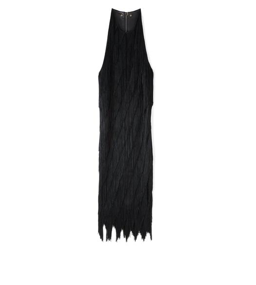 KNEE LENGTH FRINGE TANK DRESS WITH LEATHER DETAIL