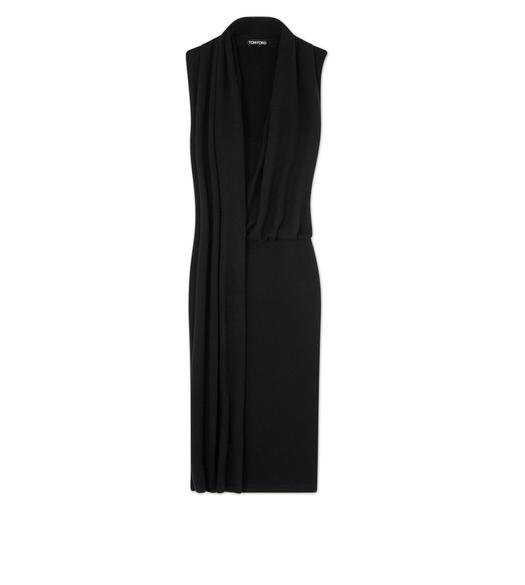 CASHMERE SLEEVELESS WRAP-NECK DRESS