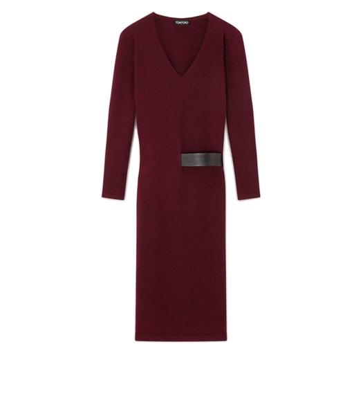 CASHMERE BELTED V-NECK DRESS