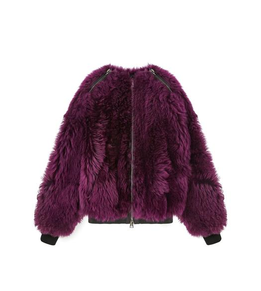 SHAGGY SHEARLING OVERSIZED ZIP BOMBER JACKET