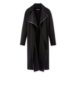 CASHMERE DRAPE LONG COAT WITH LEATHER TRIM