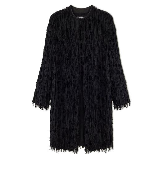 KNOTTED FRINGE EMBROIDERY COLLARLESS OVERSIZED COAT