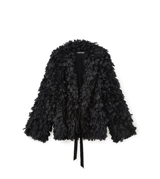 OVERSIZED SILK FRINGE JACKET WITH VELVET