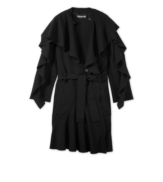 RUFFLED LONG WOOL COAT