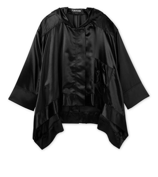 HOODED MILITARY SATIN ZIP COAT