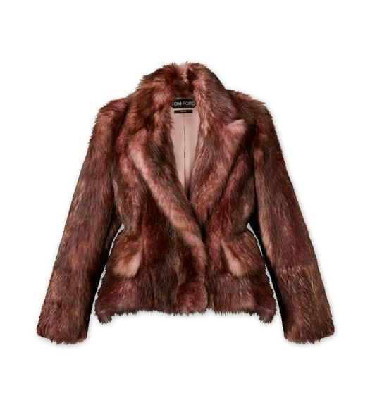 BROWN PEAK LAPEL SHORT FUR COAT