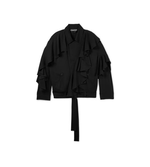 RUFFLED ZIP DOUBLE GEORGETTE BIKER JACKET