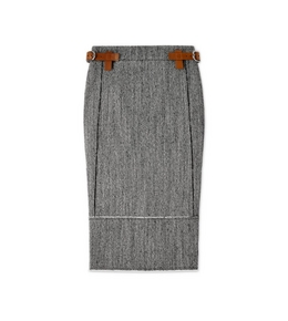 HERRINGBONE TWEED MIDI SKIRT WITH REMOVABLE LEATHER TABS