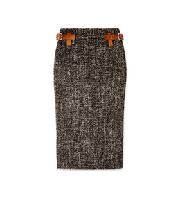 COUTURE TWEED MIDI SKIRT WITH REMOVABLE LEATHER TABS