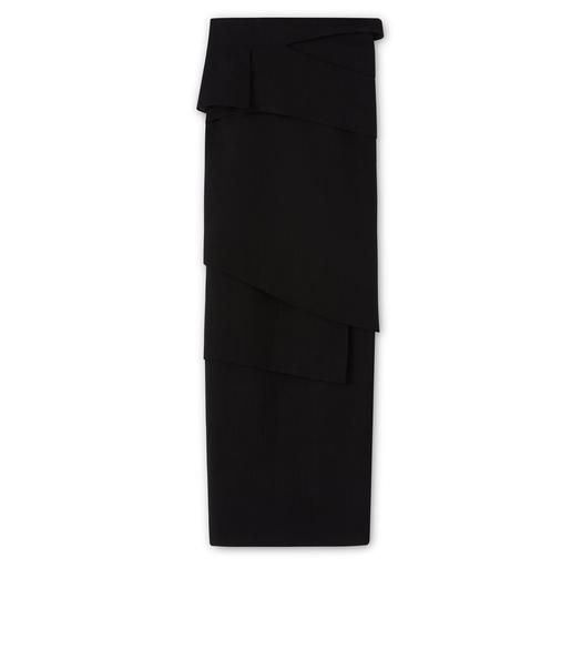 HEAVY BASKETWEAVE ASYMMETRIC LAYERED COLUMN SKIRT