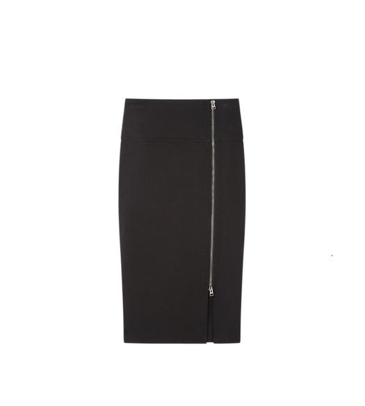 WOOL SIDE ZIP PENCIL SKIRT