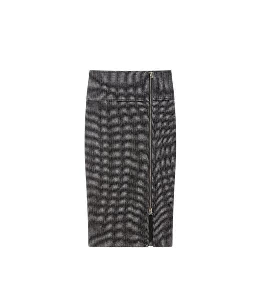 TWEED SIDE ZIP PENCIL SKIRT
