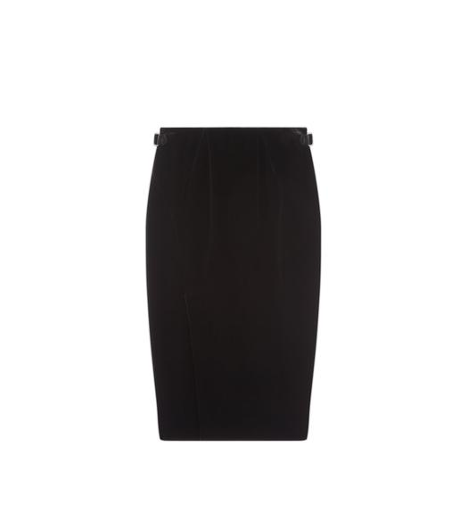 SLIT FRONT VELVET PENCIL SKIRT