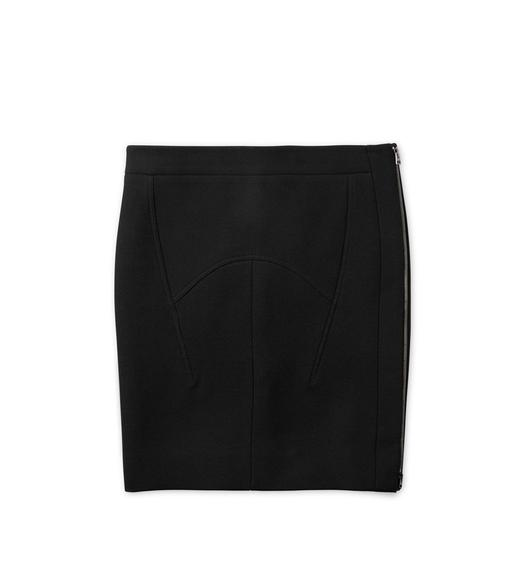 WOOL SILK SIDE-ZIP SKIRT