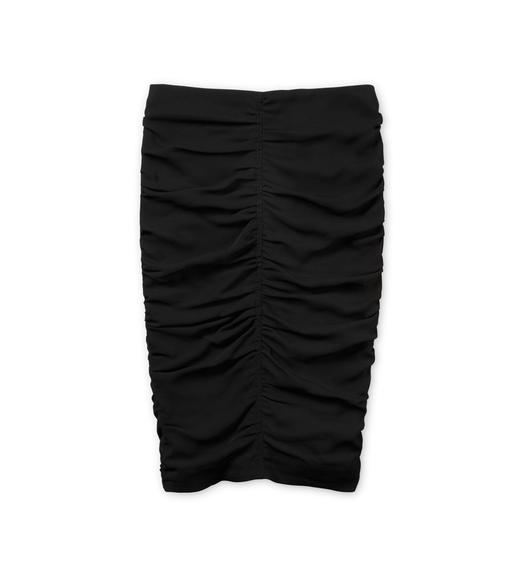 RUCHED CADY ZIP-BACK SKIRT