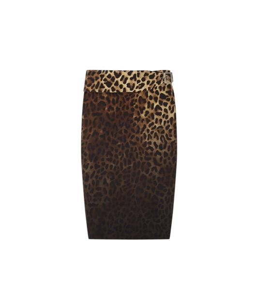 BELTED JAGUAR SABLE PENCIL SKIRT