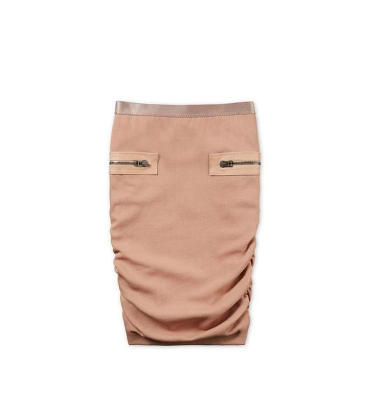 RUCHED WOOL PENCIL SKIRT WITH ZIPS