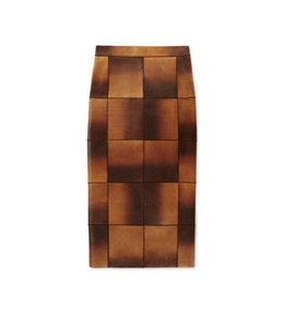 MIDI LEATHER PATCHWORK SKIRT