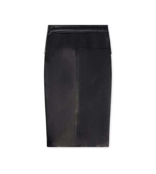 FRENCH PLONGE LEATHER SKIRT WITH FRONT ZIP AND PADDED HIP DETAIL